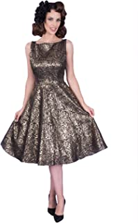 Silver Roses Midi Fit and Flare Dress