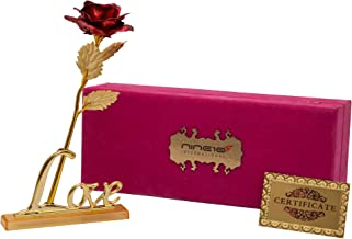 NINE10 Red Rose 24K Gold Foil/Gold Plated Rose with Exclusive Velvet Gift Box and Love Stand