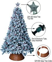 ABUSA Prelit Frosted Artificial Christmas Tree 7.5 ft Flocked Snowy Everest Pine with Red Berries and Pine Cones 750 LED Lights 1383 Branch Tips