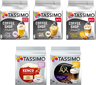 comprar comparacion Tassimo Discover Bundle - Tassimo Coffee Shop Selections Chai Latte/Typ Flat White/Typ Toffee Nut-Latte, Kenco Flat White,...