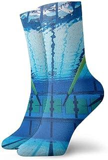 tyui7, Piscina subacuática Pista Calcetines de compresión antideslizantes Cosy Athletic 30cm Crew Calcetines para hombres, mujeres, niños