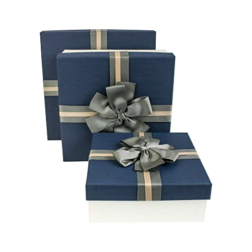 e2f1ee5e3 Emartbuy Set of 3 Rigid Luxury Presentation Gift Box, Cream Box with Blue  Lid,