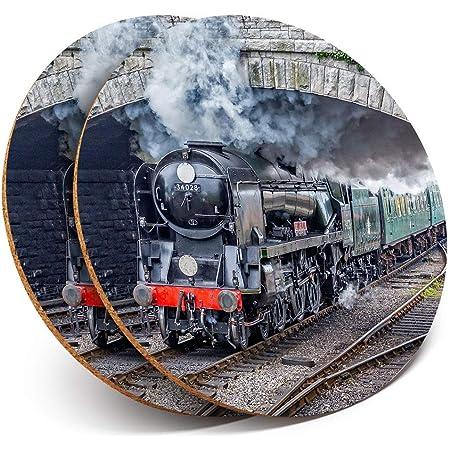 Destination Vinyl ltd 2 x MDF Glossy Top Coasters Round - Eddystone Steam Train 2178