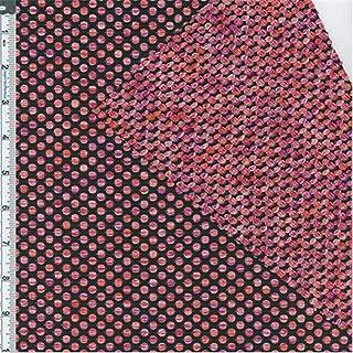 Veedaf Black/Magenta/Orange Polka Dot Textured Novelty Knit, Fabric by The Yard