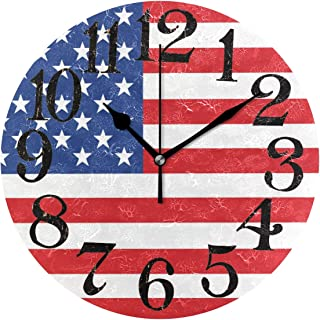 Naanle American Flag Patriotic USA Independence Day 4Th of July Round/Square/Diamond Acrylic Wall Clock Oil Painting Home Office School Decorative Creative Dual Use Clock Art