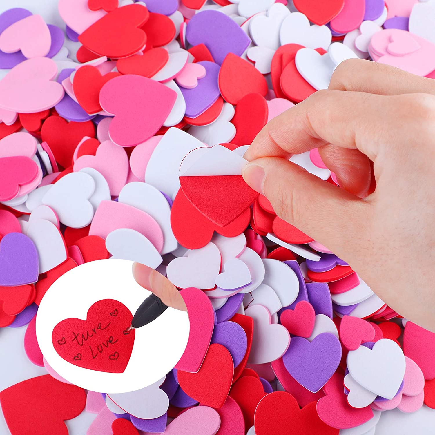Wedding Decoration or Card Making Cooraby 600 Pieces Heart Foam Stickers Self-Adhesive Heart Shapes Craft Stickers for Valentines Day