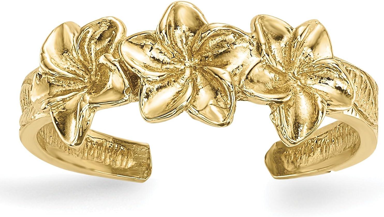 14k Polished Flowers Toe Ring