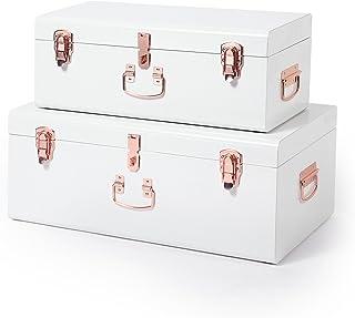 Beautify Set de 2 Coffres Malles de Organisation Rangement en Métal Vintage Pour Salon, Chambre, Dressing - Blanc