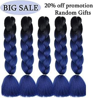 MYCHANSON Ombre Jumbo Braiding Hair Extension Synthetic Kanekalon Fiber for Twist Braiding Hair 24inch 5Pcs(Black-Dark Blue)