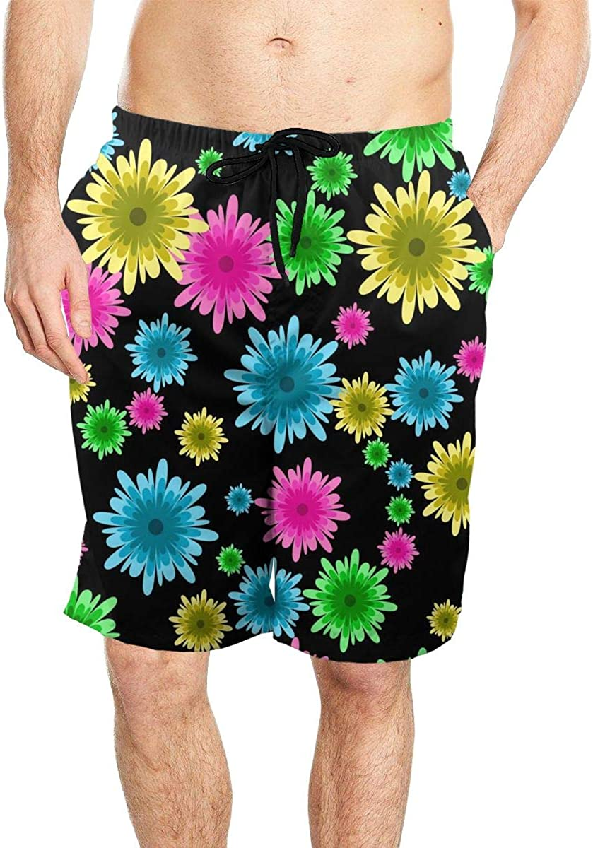 DASMUS Background with Flowers Mens Drawstring Beach Board Shorts Swim Trunks with Mesh Lining