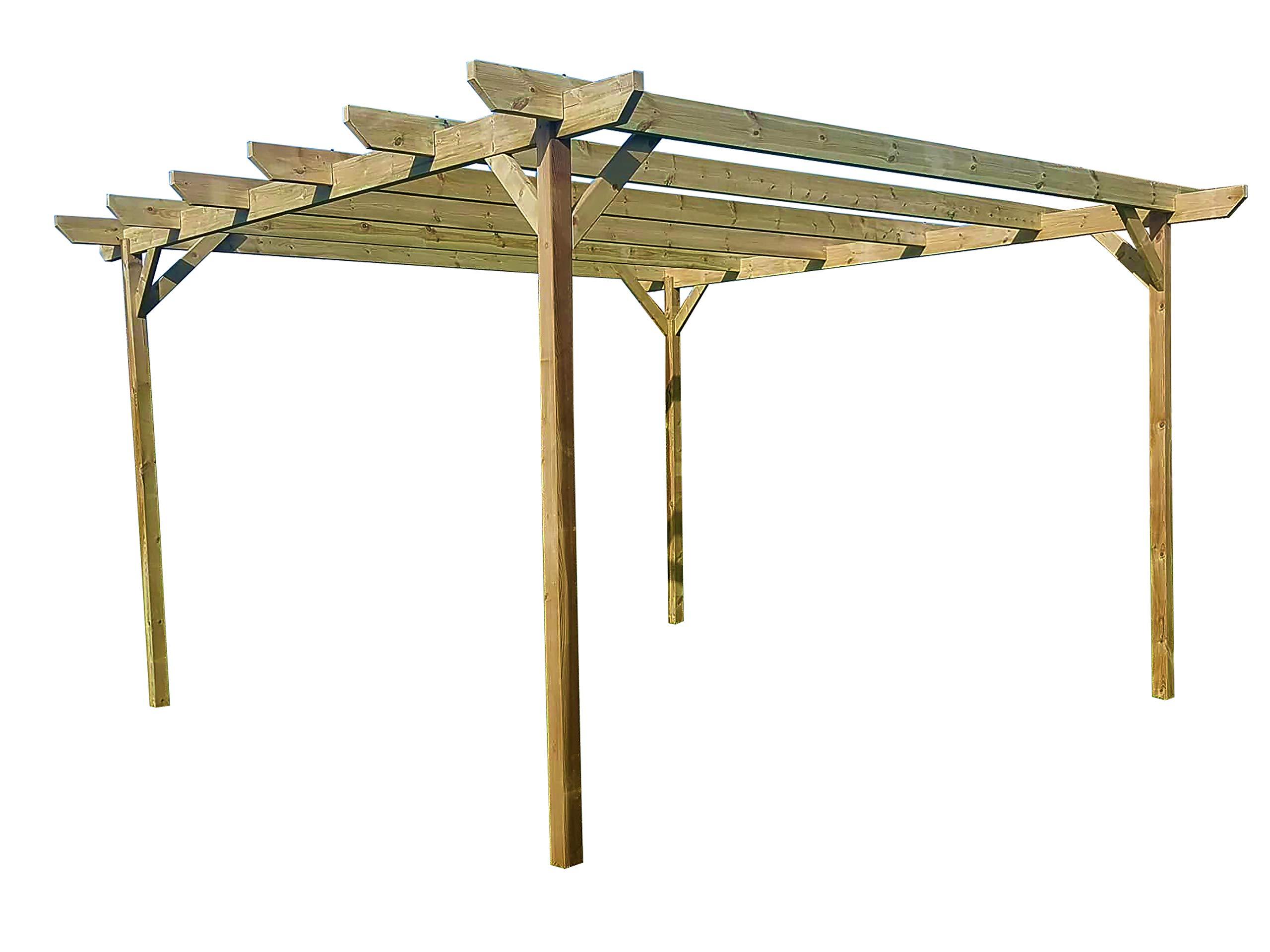 GMS TIMBER LTD - Juego de pérgola de jardín de Madera biselada - Exclusiva Gama de pérgola - más Grande en Amazon - Acabado Verde Claro o marrón rústico: Amazon.es: Jardín