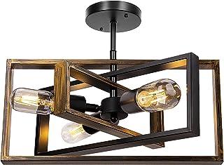Rustic Semi Flush Mount Ceiling Light, Farmhouse Vintage Ceiling Light Fixture 3-Light Retro Industrial Lighting for Bedro...