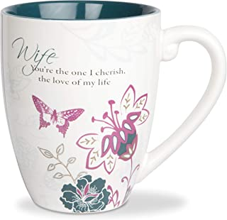 Pavilion Gift Company Mark My Words Wife Floral Butterfly Coffee Tea Mug, Large, Navy Blue