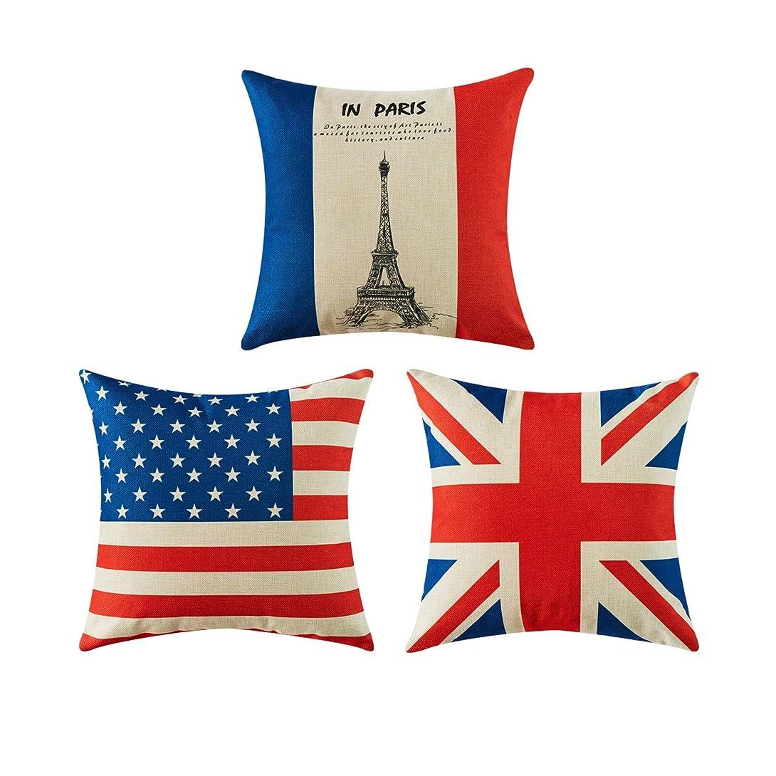 記者五月ニンニクTop Finel クッションカバー リネン 45×45 万国旗 フランス イギリス アメリカ 3枚セット