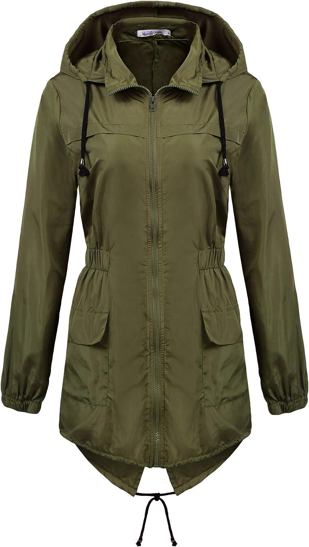 Macr&Steve Womens Lightweight Hooded Waterproof Raincoat Active Outdoor Rain Jacket