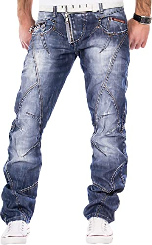 Cipo & Baxx Herren Jeans Denim Hose Zipper