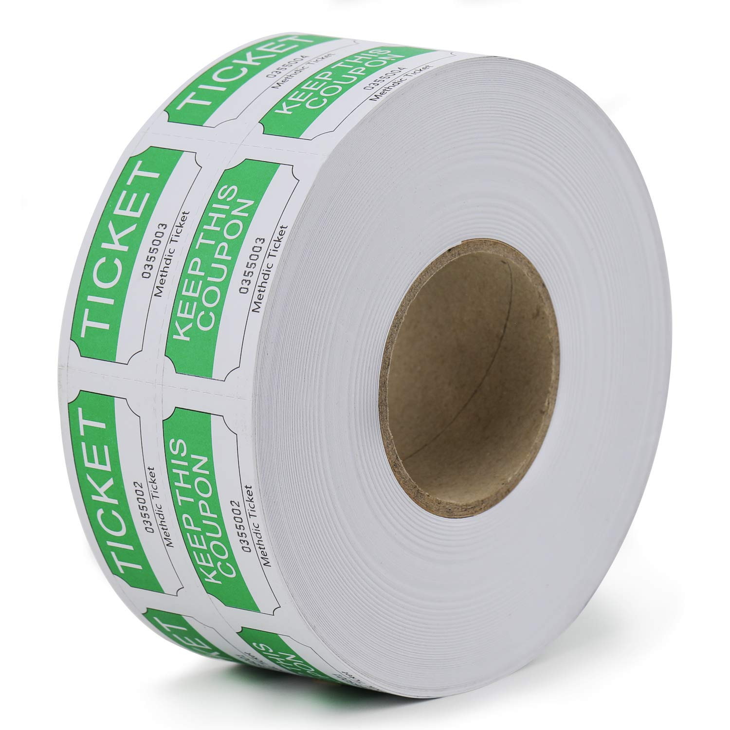 Methdic 50/50 Raffle Tickets Double Roll 1000 Thick Tickets Offset Paper (Green)