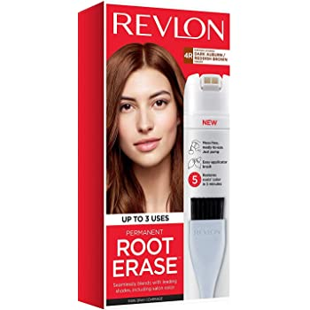 Revlon Root Erase Permanent Hair Color, At-Home Root Touchup Hair Dye with Applicator Brush for Multiple Use, 100% Gray Coverage, Dark Auburn/Reddish Brown (4R), 3.2 oz