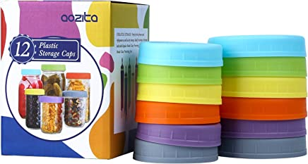 Aozita [12 Pack] Colored Plastic Mason Jar Lids for Ball, Kerr and More - 6 Regular Mouth & 6 Wide Mouth - Food-Grade Plastic Storage Caps for Mason/Canning Jars
