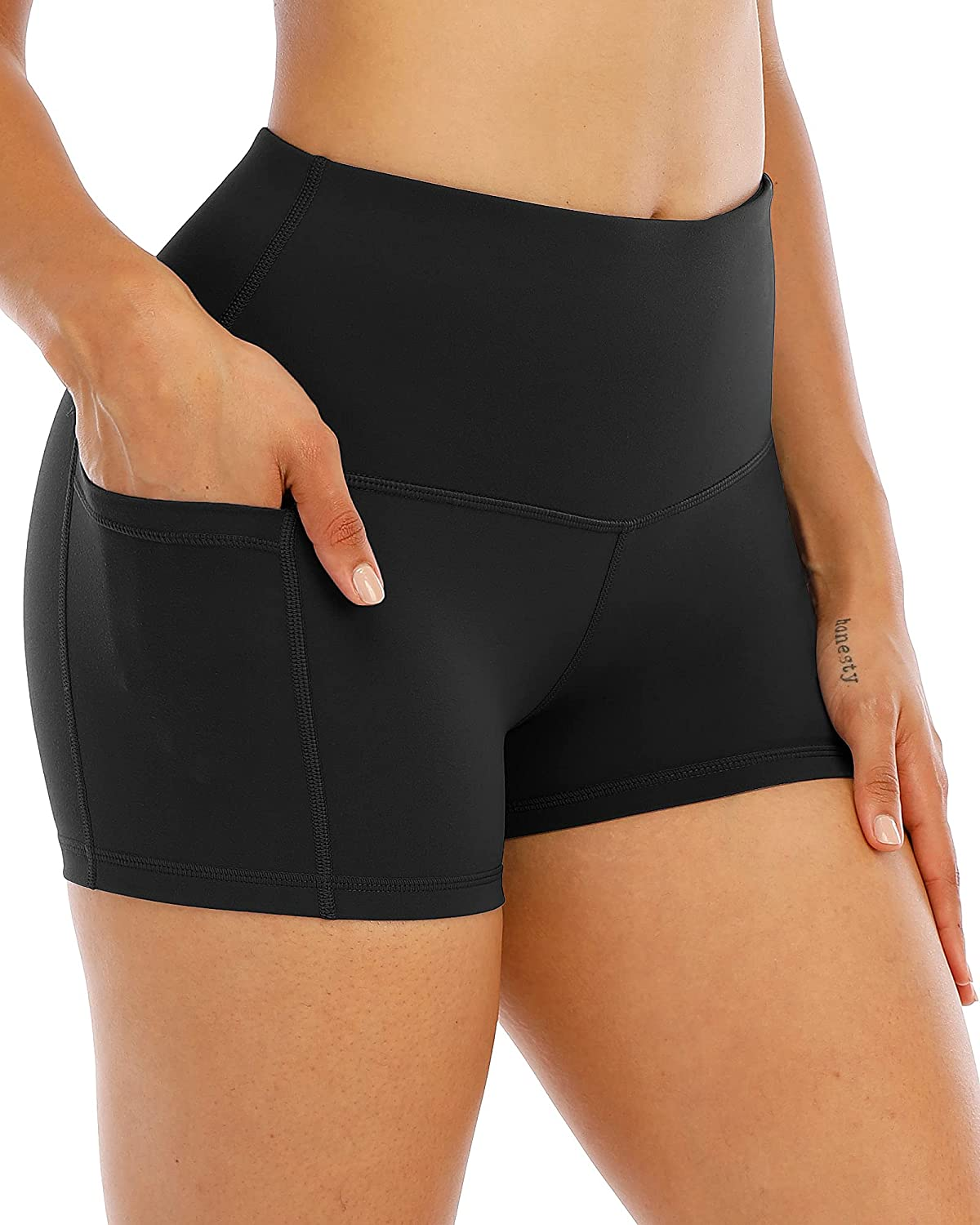 CHRLEISURE Bombing new work Chicago Mall Spandex Yoga Shorts with High Pockets Women for Wais