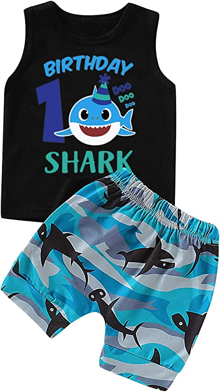 Shalofer Toddler 1ST Birthday Shark Outfit Set Baby Boy Funny Long Sleeve Clothing Set With Hat