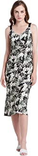 Our Heritage - Women's Sleeveless V-Neck Print Midi Dress with Grosgrain Straps