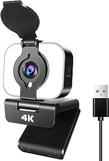 WEBカメラウェブカメラUHD 4K 3840*2160解像度105°広角高画質パソコンカメラ ワリングフィルライト付き内蔵マイク skype会議用PCカメラ Windows 10/8 / 7 Mac OS X, Youtube, Skyp