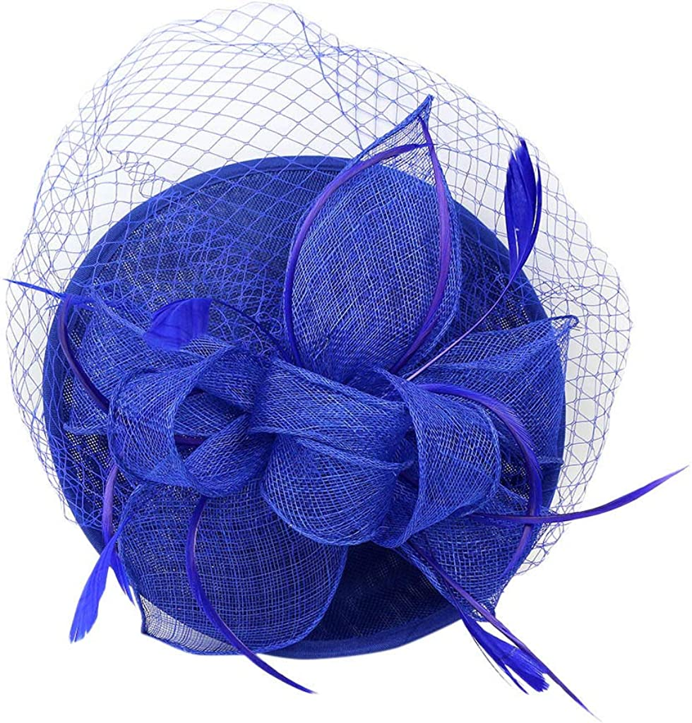 Damen Fascinator Blumen Netz Braut Kopfschmuck Haar Clip Hut Feder Haarschmuck Kopfbedeckung f/ür Party Kirche Hochzeit Cocktail Jockey Club