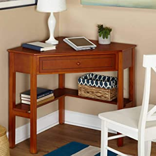 Corner Writing Desk with Pullout Drawer and Shelf (Cherry)