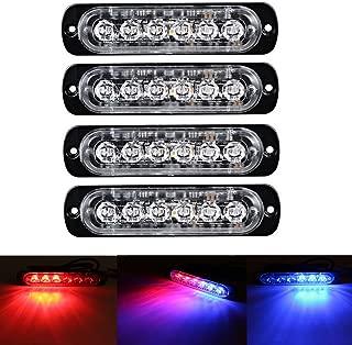 XT AUTO 6LED Car Truck Emergency Beacon Warning Hazard Flash Strobe Light Red/Blue 4-pack