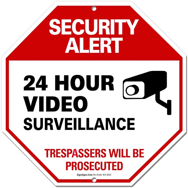 Video Surveillance Sign 12x12 Octagon Shaped Rust Free Aluminum UV Printed Easy To Mount Weather Resistant Long Lasting Ink Made In USA By SIGO SIGNS