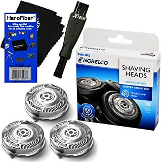Philips Norelco SH50/52 Replacement Head for Series 5000, PowerTouch (PT8, PT7_) & AquaTouch (AT8, AT7_) Electric Shavers + Double Ended Shaver Brush + HeroFiber® Ultra Gentle Cleaning Cloth