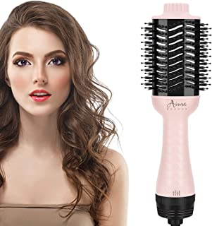 برس خشک کن مو , AIMA BEAUTY خشک کن مو یک مرحله ای و حجم دهنده استایلر با یون منفی برای کاهش موخوره و استاتیک ، صورتی