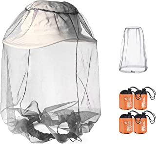 Phogary 4 Pack Mosquito Head NET, Soft Durable Heavy-Duty Fly Screen Protection for Any Outdoor Lover, Mosquito Hat Net with Carry Bag