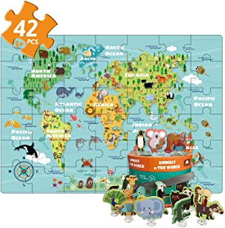 World map Puzzle Animal of The Colorful Floor Puzzle and Grown Up Puzzles for Kids Age 3 Raising Children Recognition & Memory Skill Practice(42Pcs,2.3x1.6Feet)
