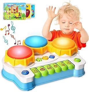 ACTRINIC Baby musikleksaker trummor piano musikinstrument, lärande och utveckling tidigt pedagogiskt spel med ljus/musik p...