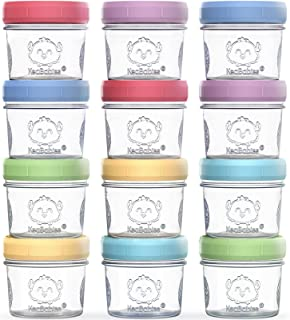 12-Pack Baby Food Glass Containers - 4 oz Leak-Proof, Microwavable, Baby Food Storage Container - Baby Food Storage Contai...