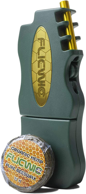 Rare FLICWIC Hemp Wick Green and Gold wholesale Dispenser Case Mini for Lighter