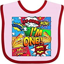 Inktastic I'm 1 Comic Book Baby Bib Pink and Red