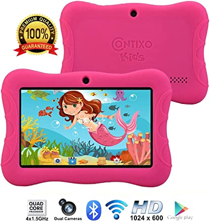"Contixo Kids Tablet K3 | 7"" Display Android 6.0 Bluetooth WiFi Camera Parental Control for Children Infant Toddlers Includes Tablet Case (Pink)"