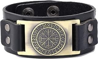 My Shape Vintage Punk Scandinavian 24 Norse Runes Charm Adjustable Wristband Cuff Leather Bracelet Man's Jewelry