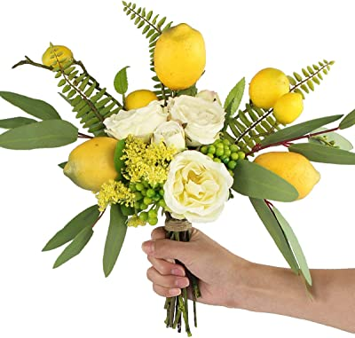 Rinlong Artificial Flower Arrangements Lemon Decor Spring Silk Flowers Bouquet Rose Eucalyptus Leaves Decoration Centerpieces For Dining Room Table Home Kitchen Party Kitchen Dining