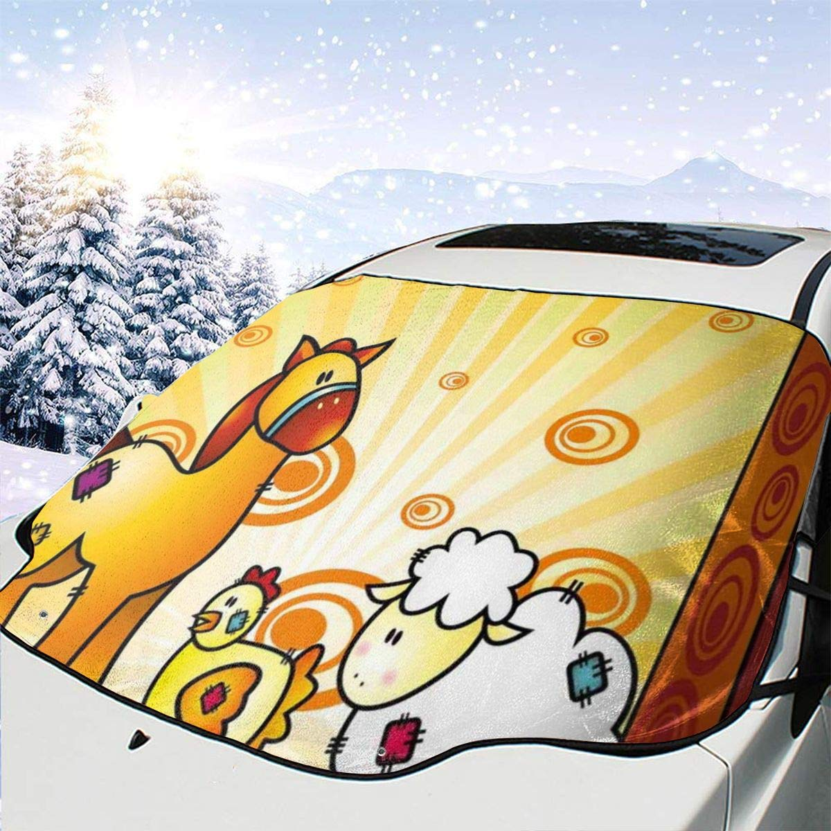 Car Front Window Windshield Snow Cover Chicken Fresno Mall SEAL limited product Animal Sh Friend