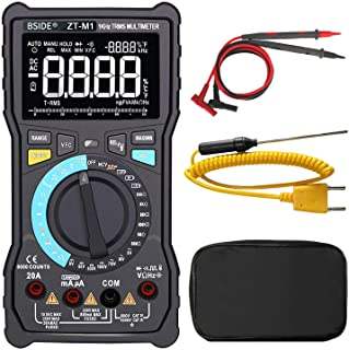 Bside ZT-M1 True RMS Digital Multimeter 3-Line Display Manual & Auto Mode 8000 Counts Auto-Ranging DMM VFC Temperature Cap...