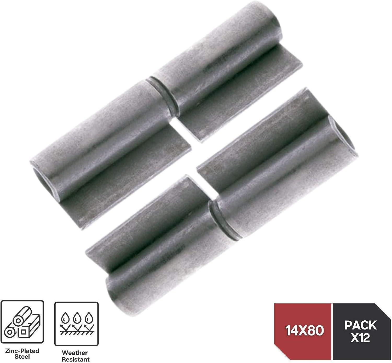 Pack 4 Gate Hinges Height: 12mmx80mm Metal Doors Garden Gates Heavy Duty Hinge DOJA Industrial Weld-On Door Pin Hinge Steel Butt Hinges External Internal Flag Brass Hinge