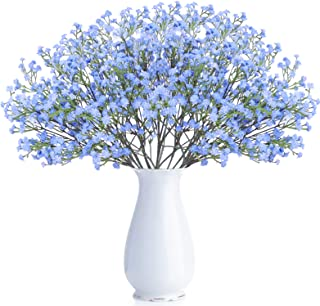 Best BOMAROLAN Artificial Baby Breath Flowers Fake Gypsophila Bouquets 21 Pcs Fake Real Touch Flowers for Wedding Decor DIY Home Party(Blue) Review
