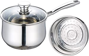 JIUJIU Stainless Steel Saucepan with Steamer Basket,1.5 QT Non-Sticking Sauce Pot with Tempered Glass lid, 18/10 Multipot with Steamer Basket
