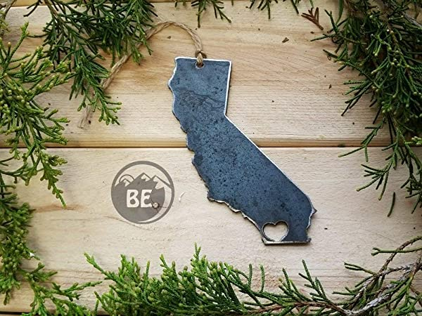 Love San Diego California State Steel Ornament Rustic Raw Metal CA State Heart Host Gift Keepsake Travel Wedding Favor By BE Creations
