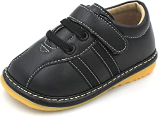 Little Mae's Boutique Toddler Boy Squeaky Shoes Brown, Black or Navy Sneakers, Ideal Baby Walking Shoes, Removable Squeakers