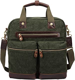 Men's Accessories Office Canvas Retro European Style Briefcase Shoulder Messenger Holder for Men Business Outdoor Recreation (Color : Green)